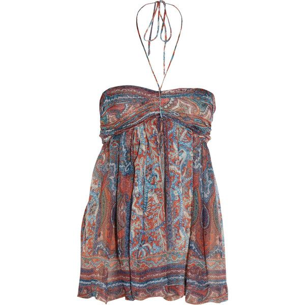 Isabel Marant Vickem silk-muslin halterneck top ($236) ❤ liked on Polyvore featuring tops, lyhythihat, tanks, red, smock tops, red necktie, tie neck halter top, neck ties and tie neck top