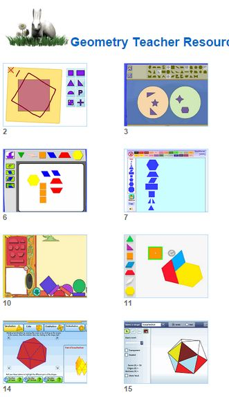 Math Geomtery Teacher Resources- Models Whiteboard and Smartboard tools for Geometry teaching from Johnnie's Math Page