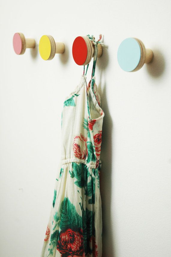Wooden wall hooks pink color by chocolatecreative on Etsy, £15.00