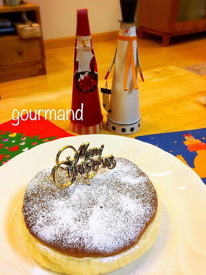 プーティ's dish photo 材料3つ  シュワふわ スフレチーズケーキ   http://snapdish.co #SnapDish #レシピ #クリスマスグランプリ2014 #クリスマス #ケーキ