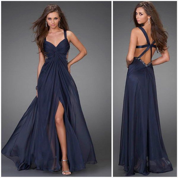 prom dresses with slits up the side | Front Slit Chiffon Formal Dress, The Open Back Peeks Around the Side ...