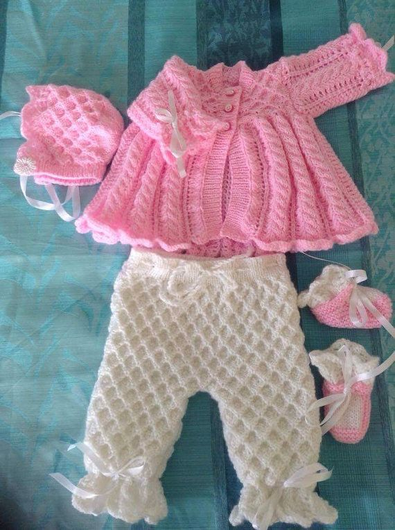 Baby coming home outfit  Newborn Sweater Pants Bonnet and