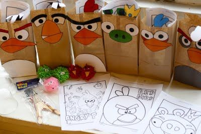 free angry birds printables, tutorials for different angry birds crafts, and angry birds party ideas