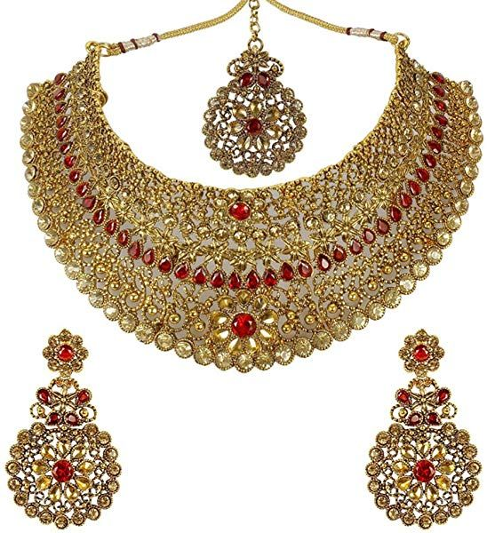 Touchstone Indian Bollywood Fascinating and Gorgeous White red Rhinestone and Rivoli Shape Candy red Faux Ruby Traditional Bridal Designer hasli Necklace Set for Women in Gold Tone