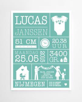 Persoonlijk en origineel cadeau, of voor op de kinderkamer: gepersonaliseerde baby geboorte poster met gewicht, lengte, naam en geboorteplaats printcandy.nl.