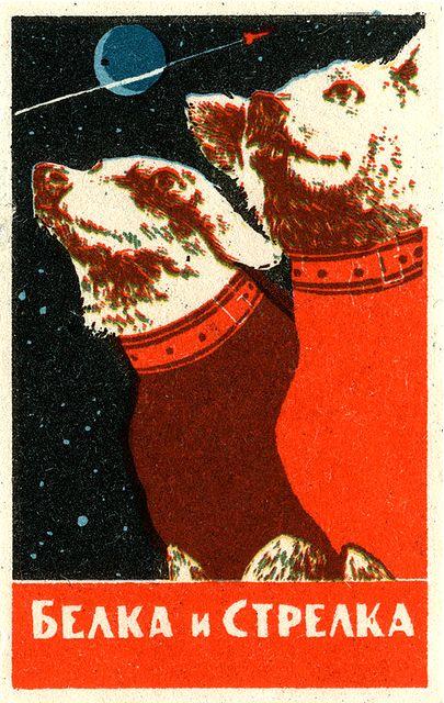 Soviet space dogs matchbox labels: Belka and Strelka - Korabl-Sputnik 2, 19 Aug 1960
