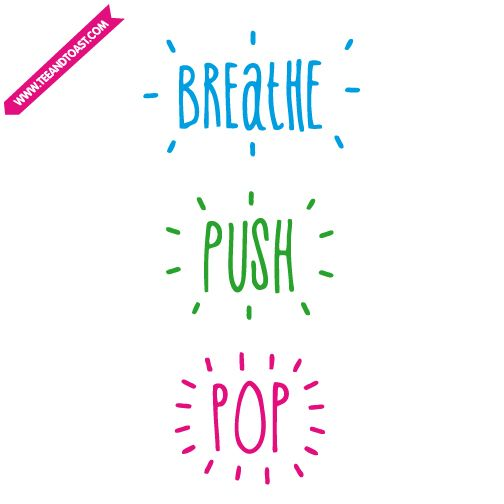 Breathe, push, pop! If only it was that easy. Pregnancy / maternity card by Teeandtoast.com  Perfect for baby showers!
