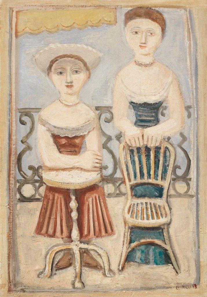 Massimo Campigli (1895-1971, Italy), 1953, Donne sul terrazzo (Women on the terrace), Oil on canvas,116x81cm.