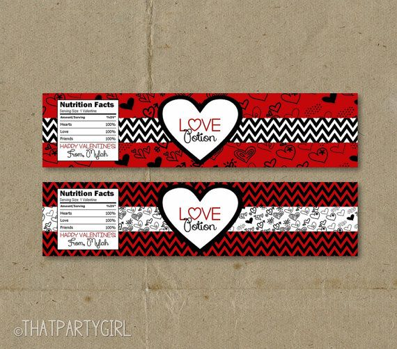 Love Potion Drink Labels: Valentine's Day Party Favors Water