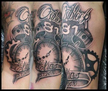 Tattoo-Foto: Uhr mit Kolben