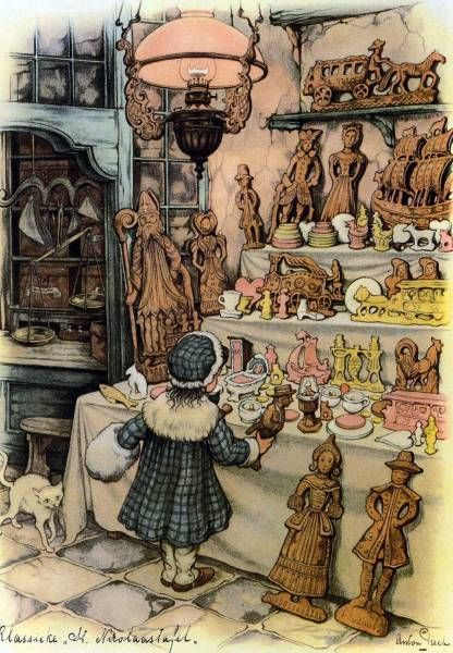 Illustration by Anton Pieck Speculaas-poppen..sinterklaas tijd.