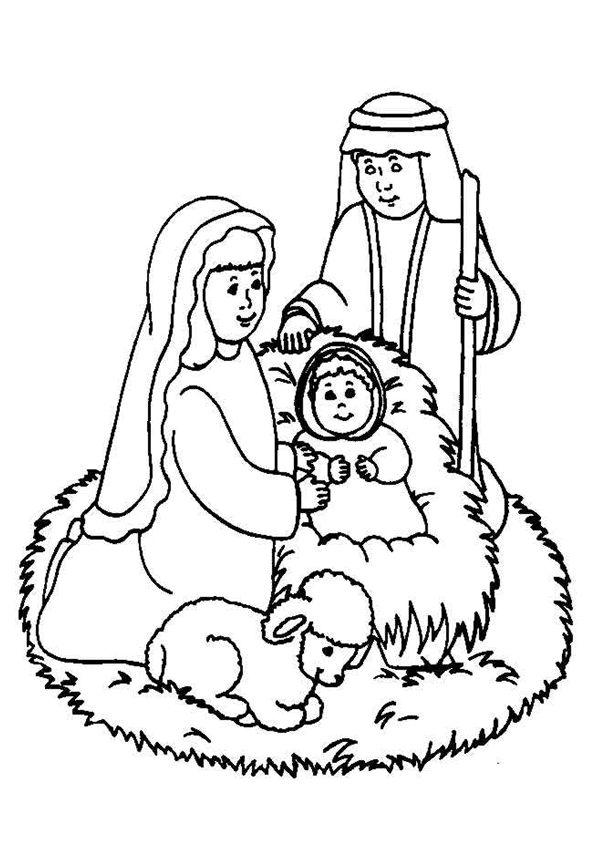 naissance de lenfant jsus dans une table colorier