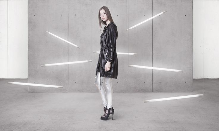 Cocoon Spring - Summer 2014 / Non collection / Coat with hood & Silver Leggins.