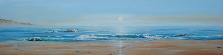 """Life's A Beach"", 18"" x 72"" acrylic, Painted by Pauline Dueck"