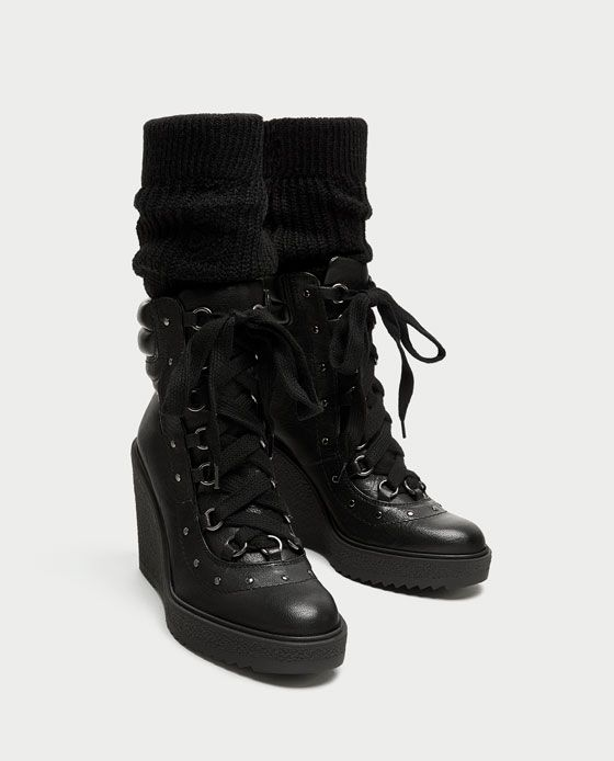 ZARA - WOMAN - LACE-UP LEATHER WEDGE ANKLE BOOTS