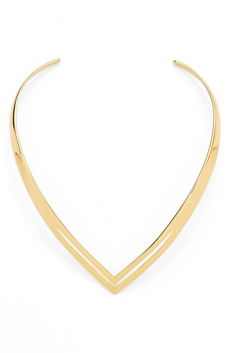 Adding a touch of glamour is easy with this hand-polished collar necklace designed with a retro-inspired angular silhouette.