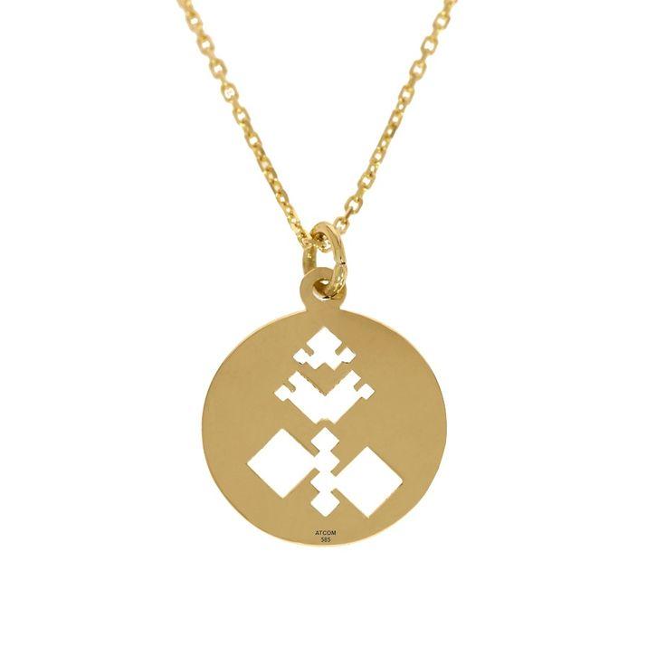 Lantisor din aur galben cu pandantiv motive traditionale Fagaras