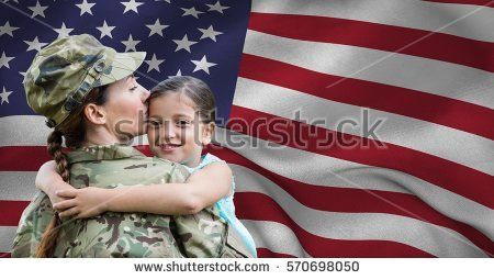 Army woman embracing her daughter against american flag background