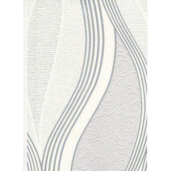 Metallic Waves Soft Grey / White Blown Vinyl Wallpaper by Direct E62019