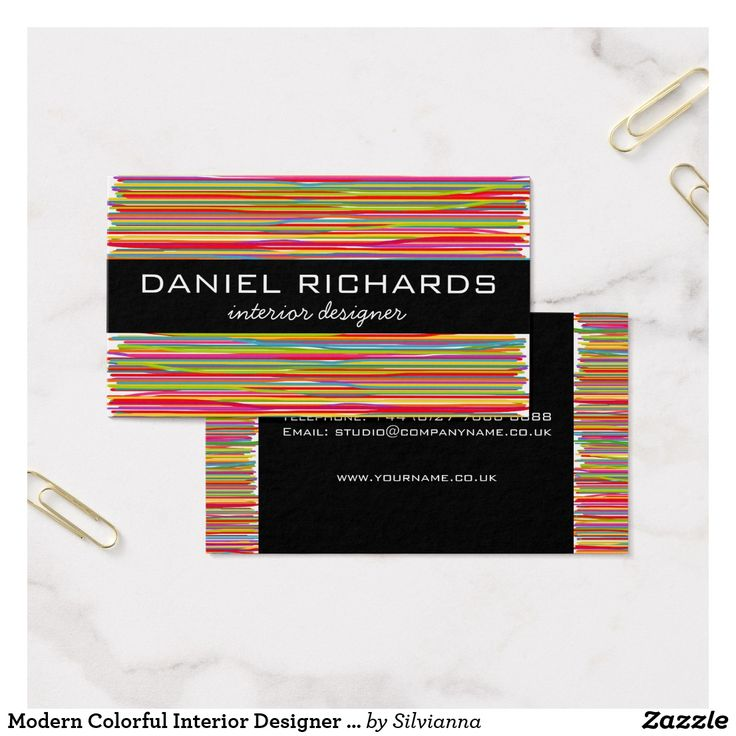 Modern Colorful Interior Designer Business Card
