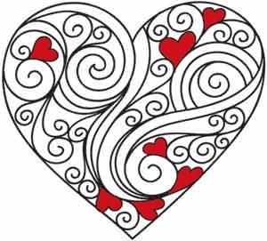 Heart colored cute stencil for a rag rug