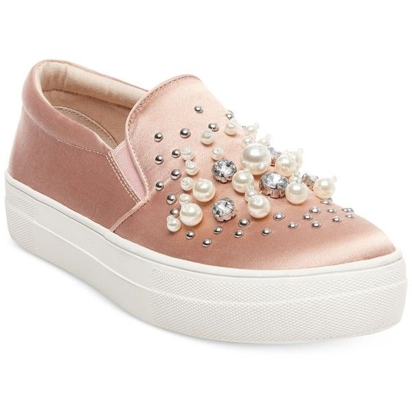 Steve Madden Women's Glamour Pearl-Embellished Sneakers (5.070 RUB) ❤ liked on Polyvore featuring shoes, sneakers, blush satin, chunky sneakers, pearl shoes, platform shoes, platform trainers and steve madden sneakers