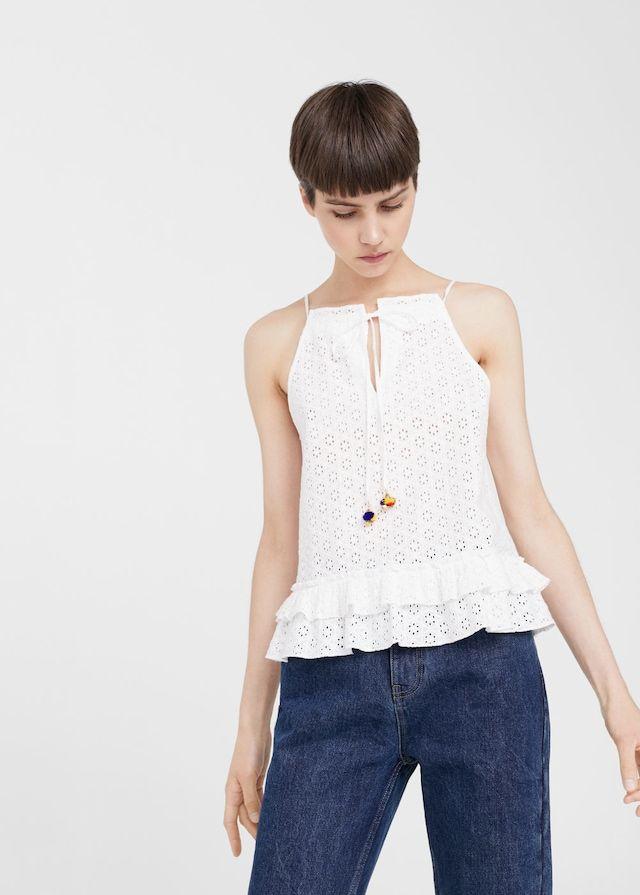 Openwork cotton top