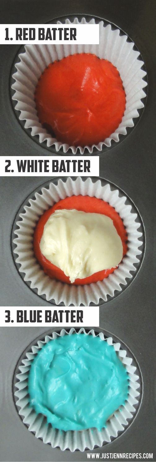 How to make layered Red, White and Blue cupcakes