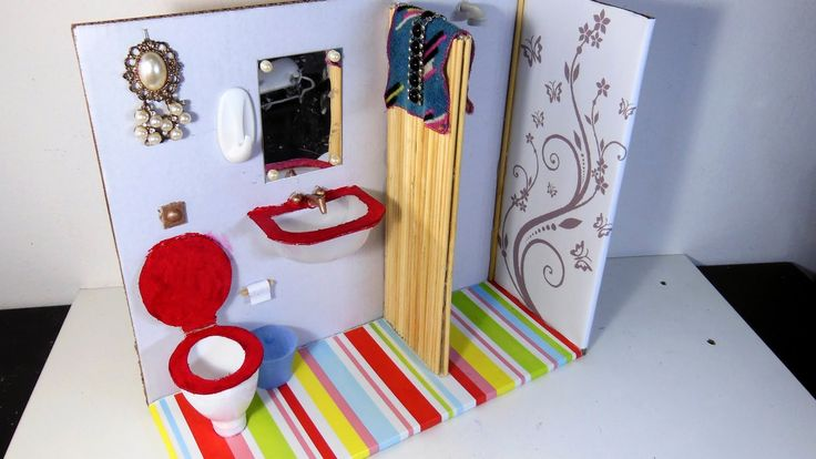 Como Fazer Banheiro (sanitário, pia e chuveiro)  para Barbie e Outras Bo...
