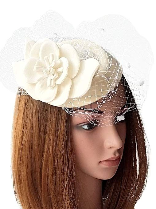 8bd13eca 1950s Women's Hat Styles & History Fascinators Womens Pillbox Hat Wool Felt  Veil Cocktail Tea Party Wedding Hats $12.98 AT vintagedancer.com