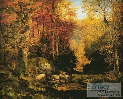 Woodland Interior with Rocky Stream