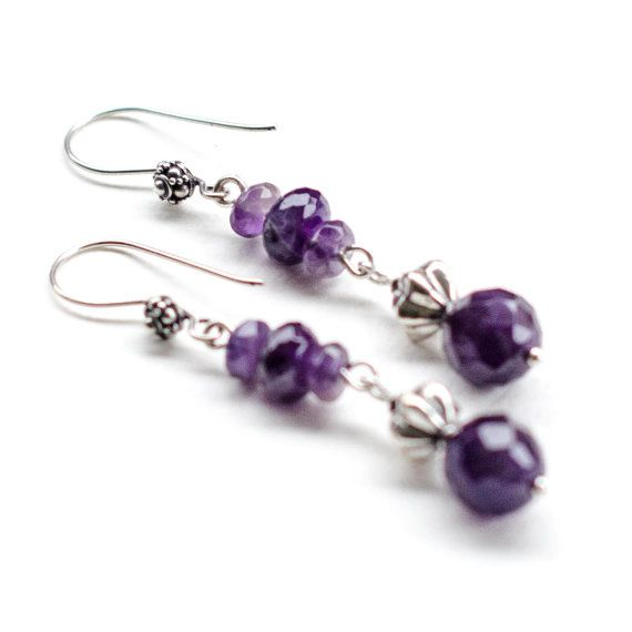 Long Dangle Amethyst Earrings