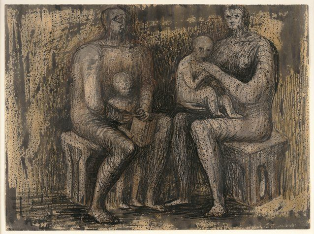 People, Place and Techniques: Henry Moore  Family Group 1933-34  drawing, watercolor, ink, crayon -  materials mixed together