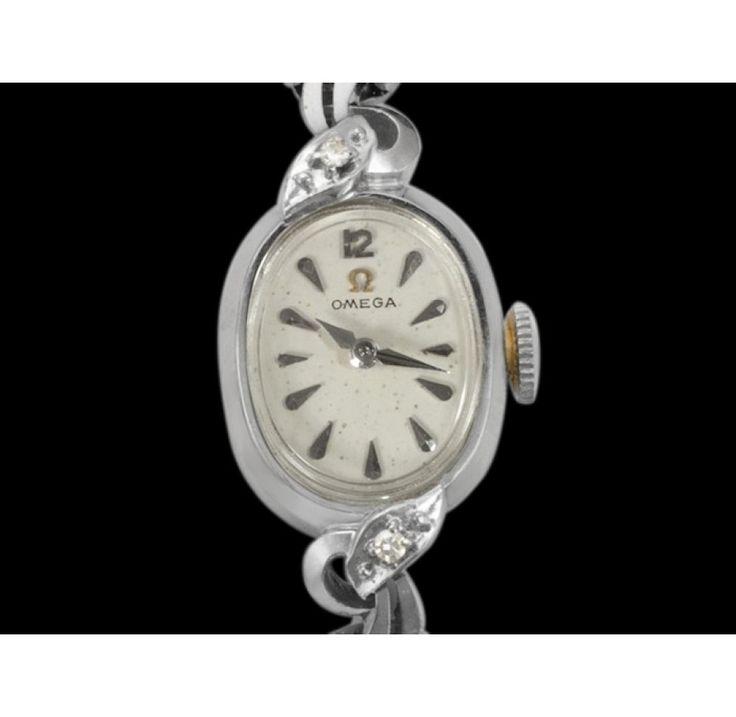 Vintage 1956 Omega Ladies Watch - 14K White Gold &Diamonds