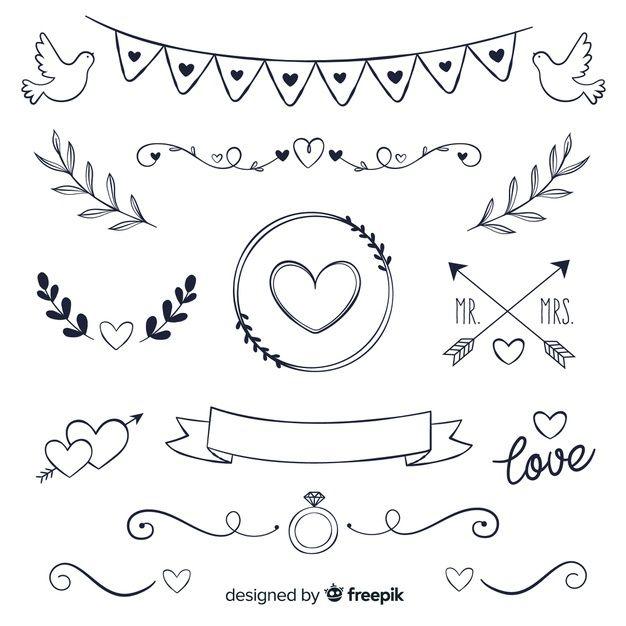 Telechargez Collection D Ornements De Mariage Dessines A La Main Gratuitement In 2020 How To Draw Hands Hand Drawn Wedding Wedding Ornament