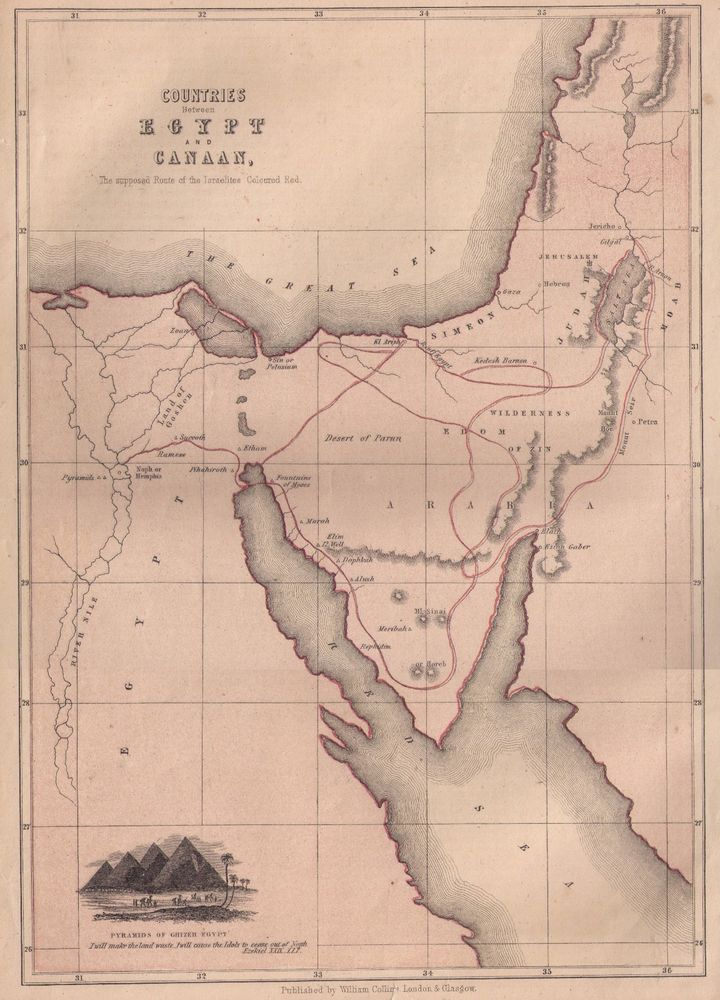Map showing EGYPT & CANAAN | Maps Collectables | Egypt map, Map, Old ...