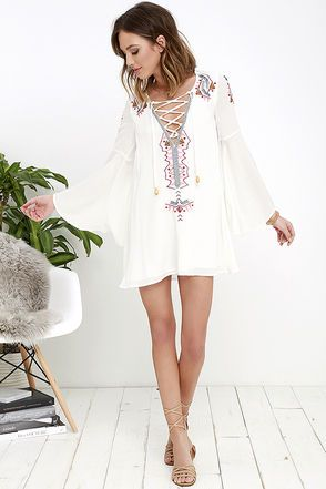 My Bell-Loved Ivory Embroidered Shift Dress at Lulus.com!