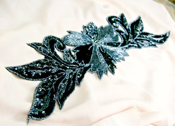 Gorgeous, large black and gunmetal sequin/beaded applique -- perfect for a Gatsby head piece or sash!