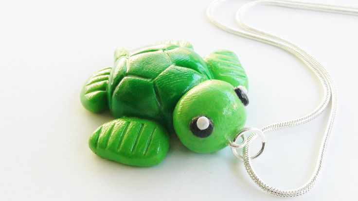 Turtle Sea Life Polymer Clay Necklace Charm. $8.00, via Etsy.