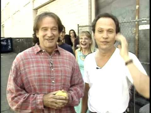 "1997 MDA Telethon - Robin Williams and Billy Crystal send Jerry Lewis a message of luck for his annual Muscular Dystrophy Association Telethon from the set of their movie ""Father's Day."""