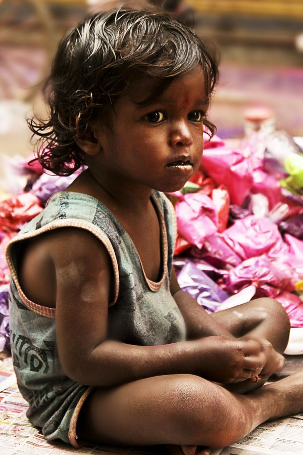 Little Girl at Holi Festival, India