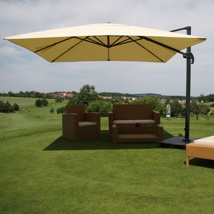 Gastronomie-Luxus-Ampelschirm Sonnenschirm N22, 4,3 m ~ creme mit Ständer…