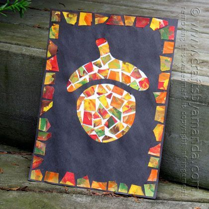 So cool! Easy autumn craft idea for kids - acorn mosaics - what a simple fall craft!