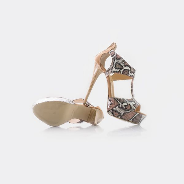 python snake print leather sandals, italian shoes