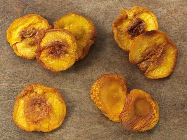 Dehydrator makes best Dried Peaches. Soak for 24 hours before you cook