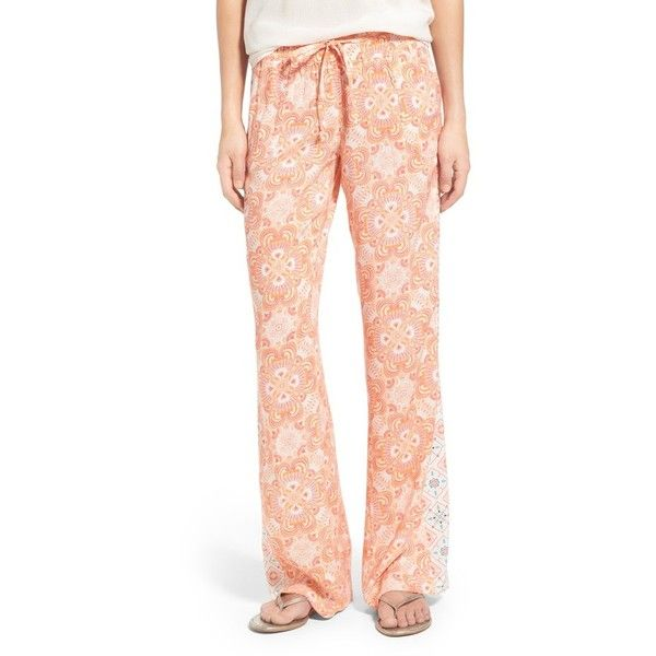 Women's Roxy 'Oceanside' Mixed Print Beach Pants featuring polyvore, women's fashion, clothing, pants, peach nectar mermaid floral, roxy pants, patterned pants, floral printed pants, flower print pants and red pants