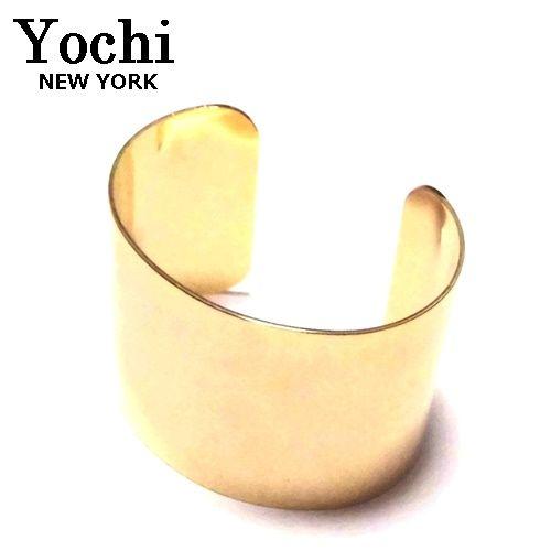 Yochi NEW YORK ヨキ ニューヨーク カフ wide open cuff gold バングル ゴールド ワイド ブレスレット レディース シンプル おしゃれ 太 幅広 ばんぐる ぶれすれっと ブレスレットデザイナー NY ファッション ブレスレットバングル カフス 海外 ブランド