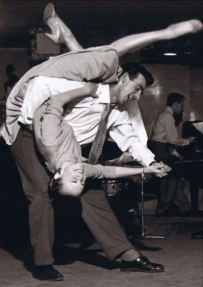 A couple doing the Lindy Hop in the 1940's.