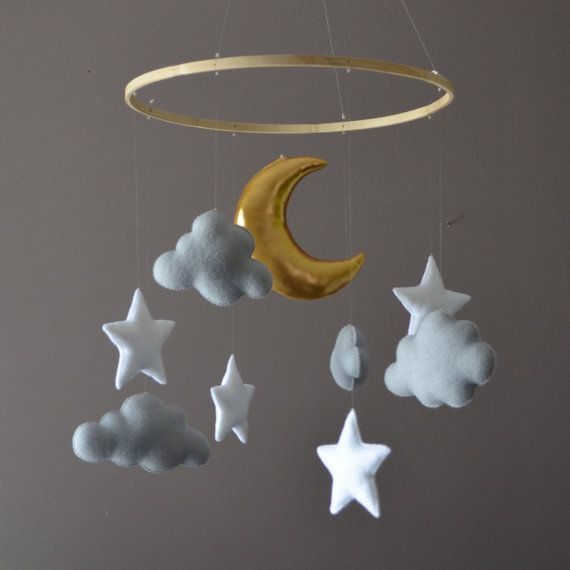 This beautiful mobile in soft gender neutral colours will complement any nursery style. It features 4 mixed shaped clouds in soft grey, 4 bright