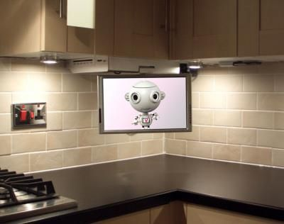 Built-in flatscreen can be folded under when not in use